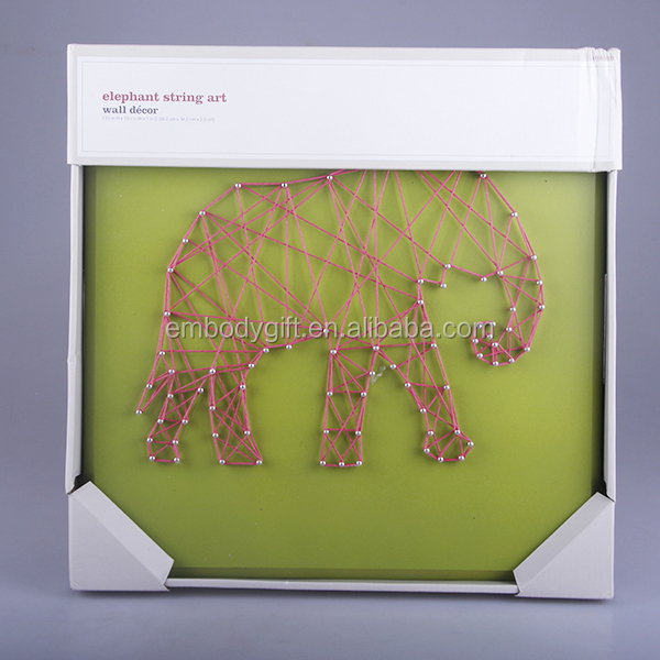 All hand-made back to school season theme wooden string wall art with the elephant shaped design