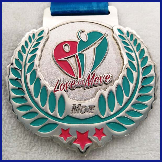 medal factory cheap custom metal sports medal with ribbon