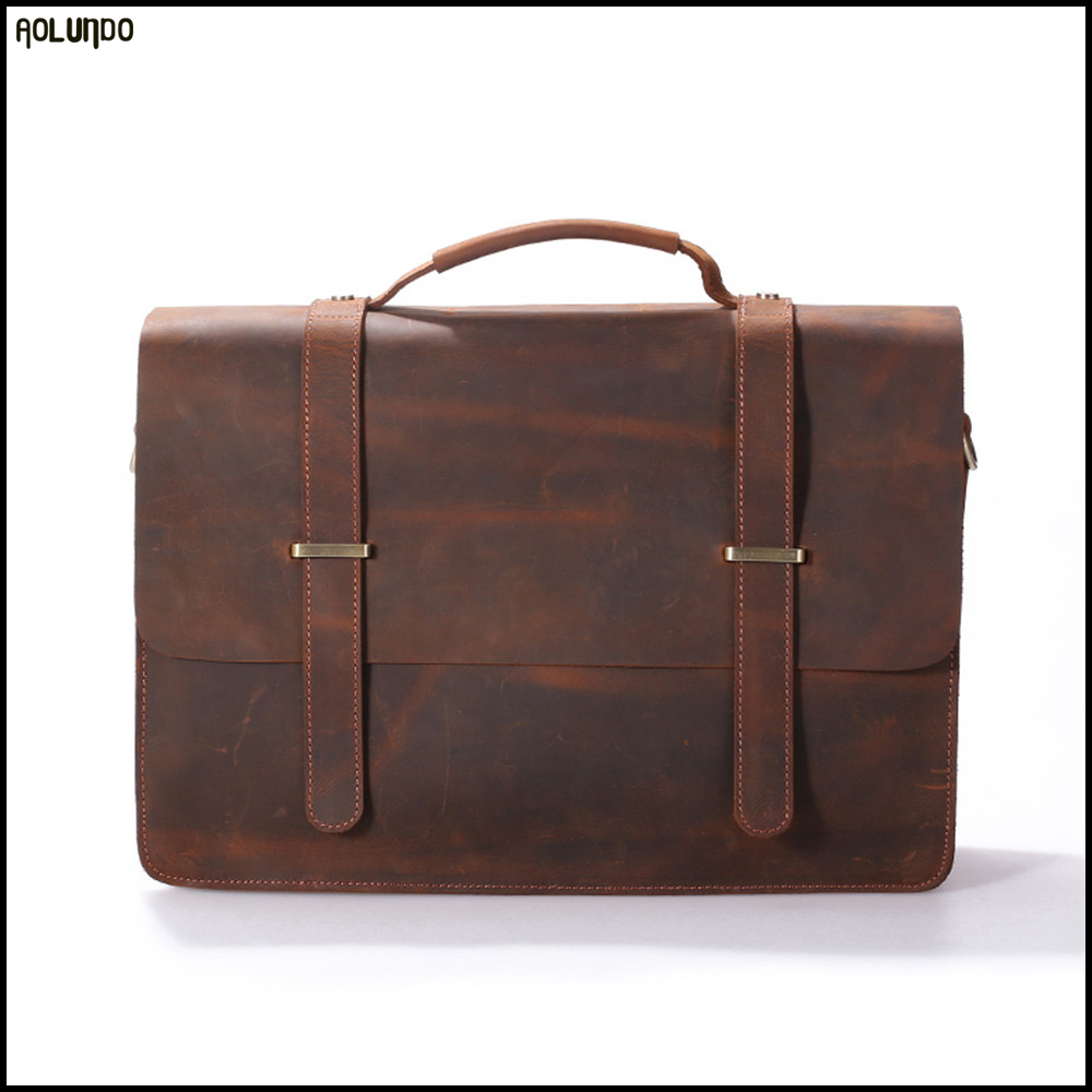 No. 1 Guangzhou factory selling mens crazy horse leather messenger laptop bag leather