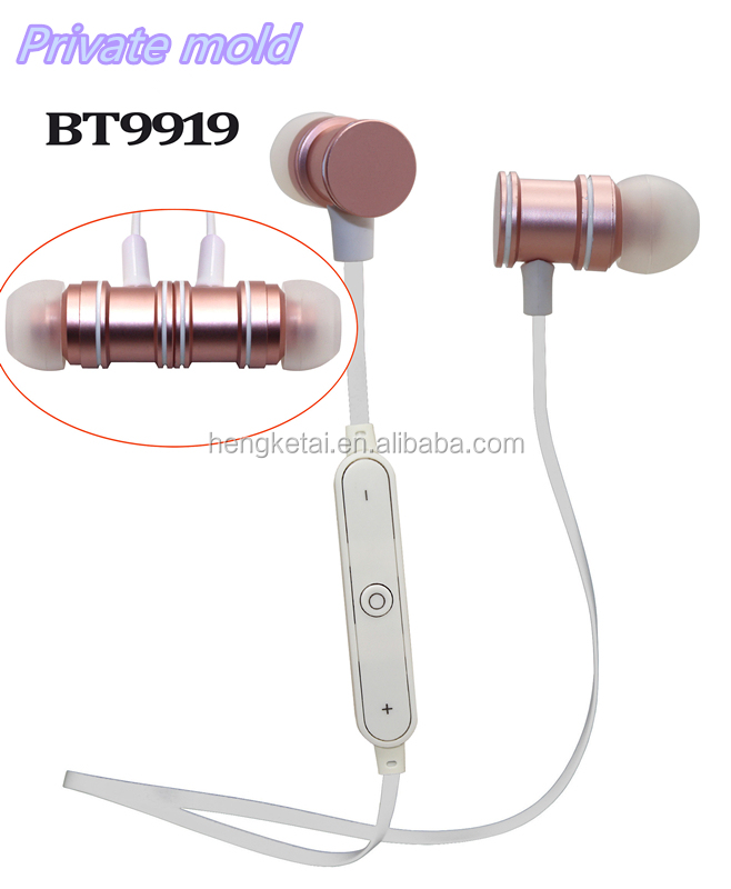 2017 innovation design headset wireless magnet metal in-ear earphones,hot selling bluetooth 4.2 stereo sport headphone with mic