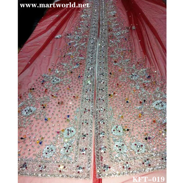 red heavy beaded rhinestone arabic kaftan(KFT-019)