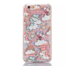 Promotion gift glitter shining liquid sand unicorn cell phone case for iphone 7 7 plus case