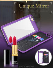 Multifunction Make up Mirror Plastic Wallet Case Cover For iPhone 6 plus Cell Phone Case With Mirror