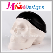 High Quality Reasonable Skull Shaped Ceramic Single Money Box