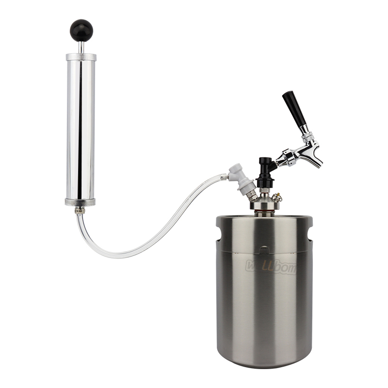 Newest 5L Mini Beer Keg Growler for Craft Beer Dispenser System Draft Beer Faucet with Perfect Air Pump and with gas ball lock