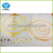 Transparent background with gold hot foil stamping label stickers waterproof vinyl Gold foil label stickers