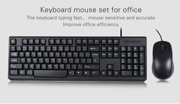 Stock ISO factory hot sale desktop wired pc keyboard mouse