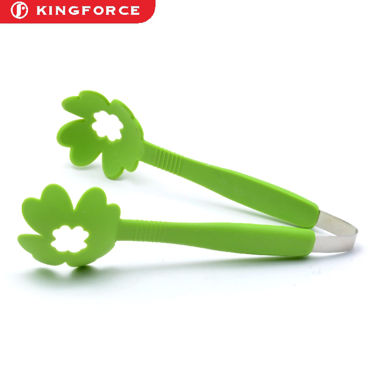 High quality food grade Kitchen Cooking Service locking mini stainless steel kitchen food tongs set with wood handle
