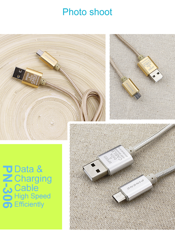 Gold Silver compatible android micro USB Speed Data Charging Cable