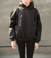 Wholesale Plain Black Korean Fashion Styel Extended Space Cotton Hoodie
