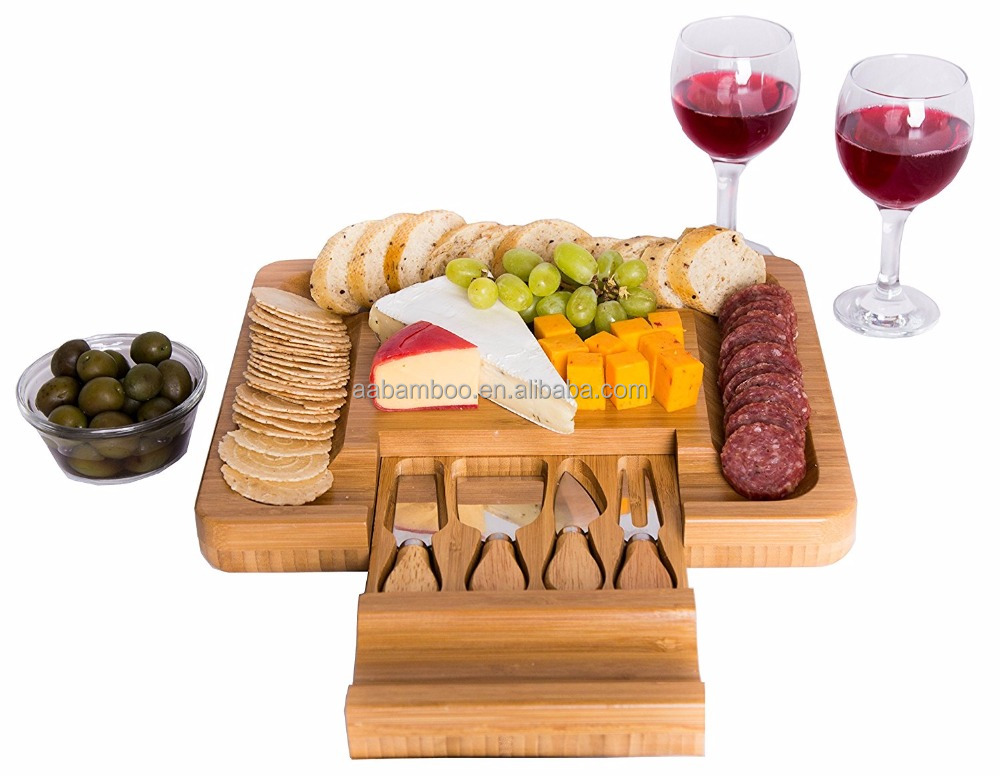 Bamboo Cheese Board with Cutlery Knife Set and Rectangle Wooden Server has Extra Serving Space on Edges for Crackers