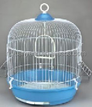 outdoor white foldable wire plastic round bird breeding cage with black tray