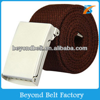 Beyond Mens Brown Military Canvas Polyester Belt with Metal Flip-top Buckle