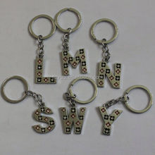 Cheap new products custom design metal letter lego keychain
