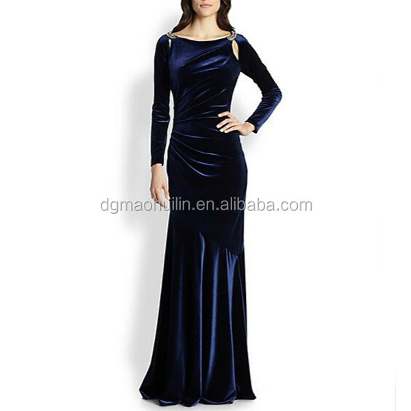 2015 Custom Full Length Gown Covered Back Mermaid Long Sleeve Velvet Evening Dresses