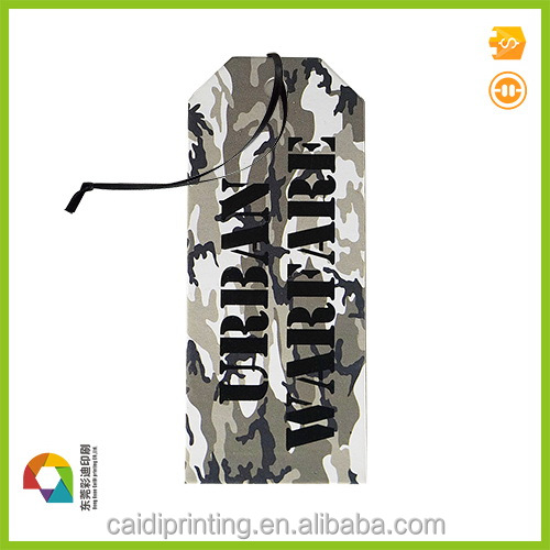 Jeans printed hang tag jacket paper hang tags with safety pin and string