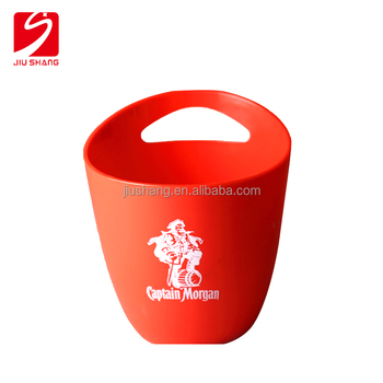 Acrylic ice beer thin bucket wholesale with one side handle for beer