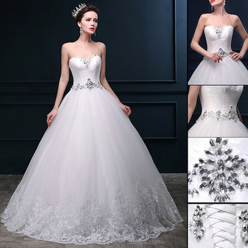 Beading A-line Sweetheart Neckline Sleeveless Floor-length Lace Princess bridal wedding dresses WD1610