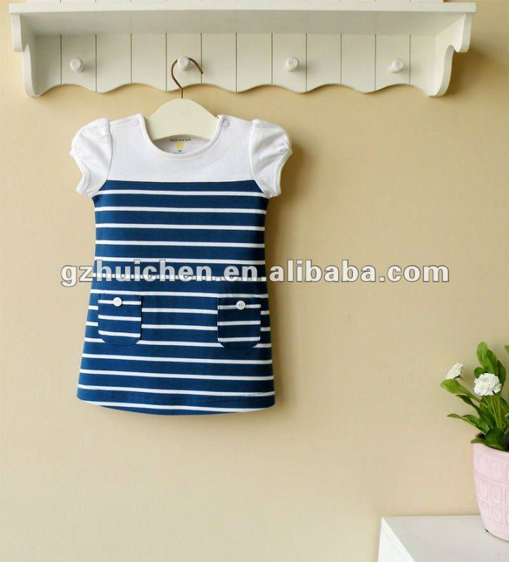mom and bab 2012 summer baby wear navy A line dress 100% cotton