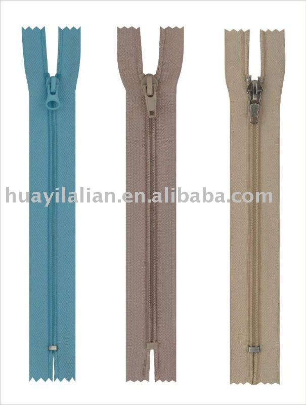 Different colors close end nylon zippers made in mainland