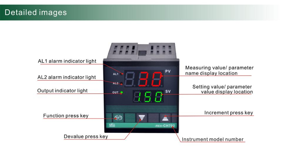 CH902 3-digit LED display 96*96mm K/J TCor RTD input with alarm SSR Industrial intelligent digital temperature controller