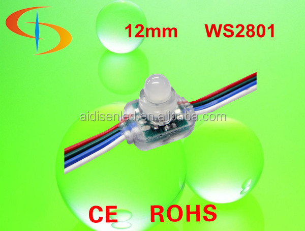rgb dc5v 12mm led pixel node string light ,ws2801/ucs1903 IC for advertising