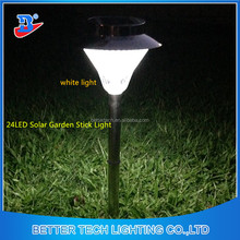 Factory Manufacture 24LED Black lamp head match Silvery poles Solar Garden path light---white light