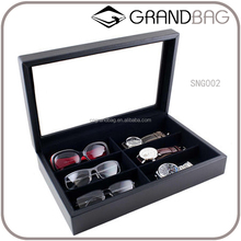 custom genuine leather glasses case watch storage box jewelry display case with glass top