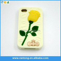 whosale mobile phone accessories rose silicone covers for iphone 4s