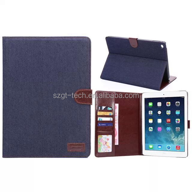 sleeve mid denim hard pc+ pu leather flip cover case for ipad air 2 tablet case