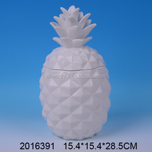 Table decor white ceramic pineapple jar ,ceramic pineapple cookie jar