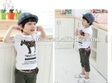 2012 fashion lovely zebra printing children's T-shirt