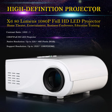2016 Factory X6 Projector Cheap Portable Projector 80 Lumens 1080P Full HD LED Projector Projection with HDMI VGA AV Port