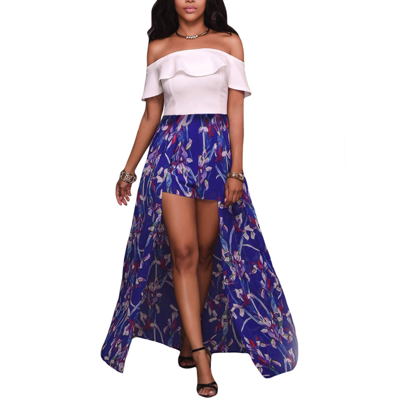 Wholesale Off The Shoulder Long Jumpsuit Dress Shorts Women Floral Print Dress Pants