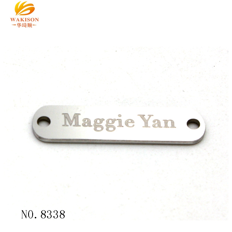 OEM factory custom laser print brand name sewing 2 hole metal tag