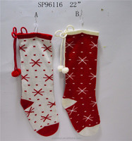 discount 2016 new design knitted stocking decoration for christmas