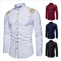 lx20618a western style fashion embroider men long sleeve clothes casual shirt