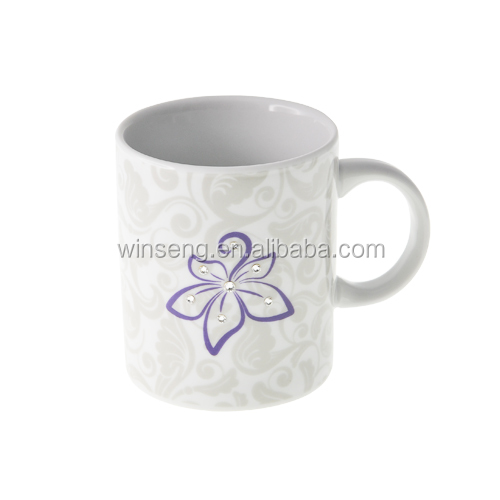 Alibaba Express High Quality Ceramic Bauhinia Flower Mug Made With Swarovski Elements V2008B-090P-CC