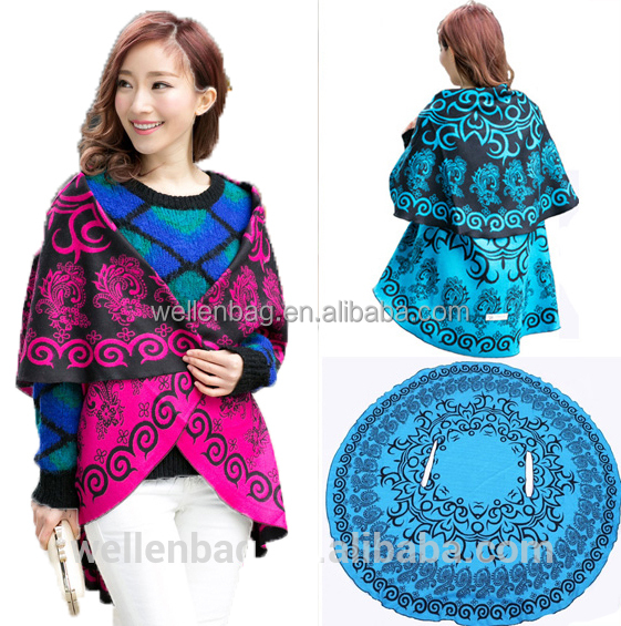 2016 new fashion style trendy winter large round stoles and shawls in round shape for ladies