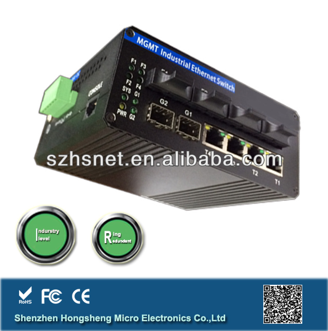 4*10/100MBase TX +2*1000M FX to 4*1000M FX, Managed Industrial 8Port Ethernet Switch