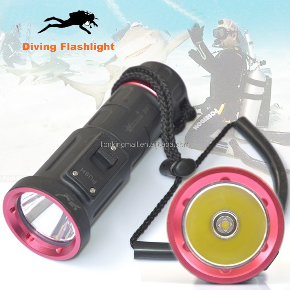 D01 Diving led <strong>Flashlight</strong> XM-L2 <strong>U2</strong> 18650 Waterproof Underwater Torch Flash LED light Lamp