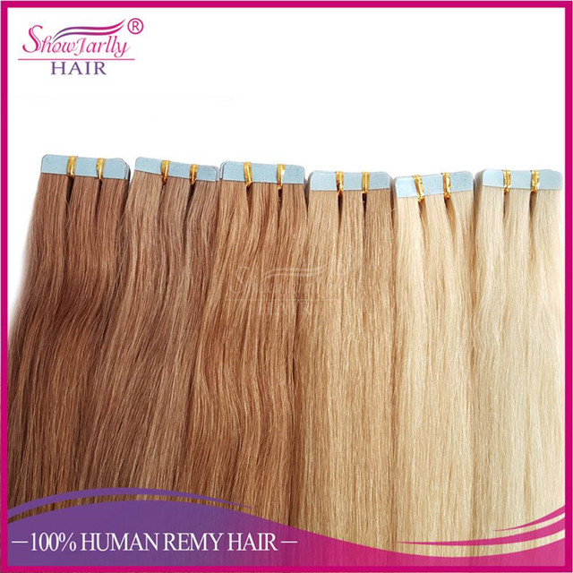 Wholesale hair extensions China 100% remy no tangle no shed tape in natural weave seamless double sided sticker hair extension