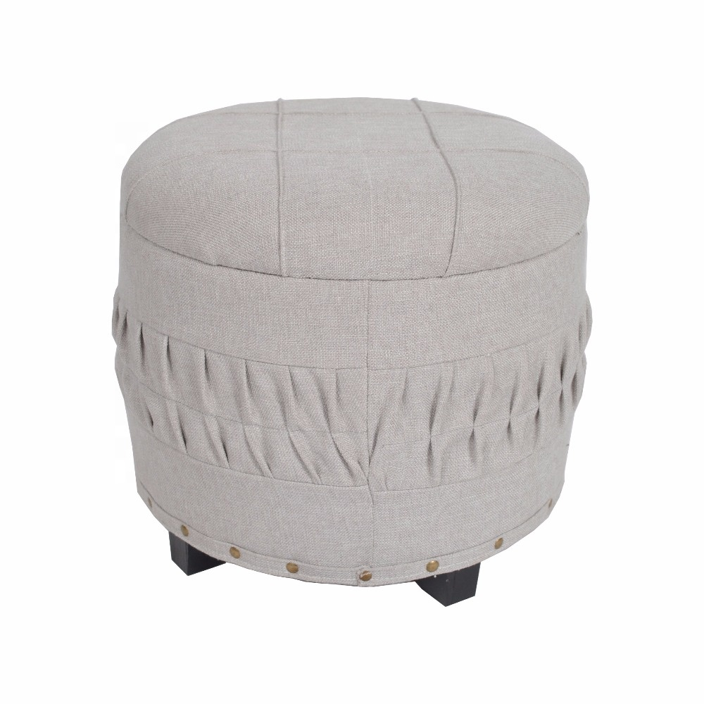 Nieuwe Producten Indoor Meubels Sofa Footrest Stof Linnen Poef Ronde Product On