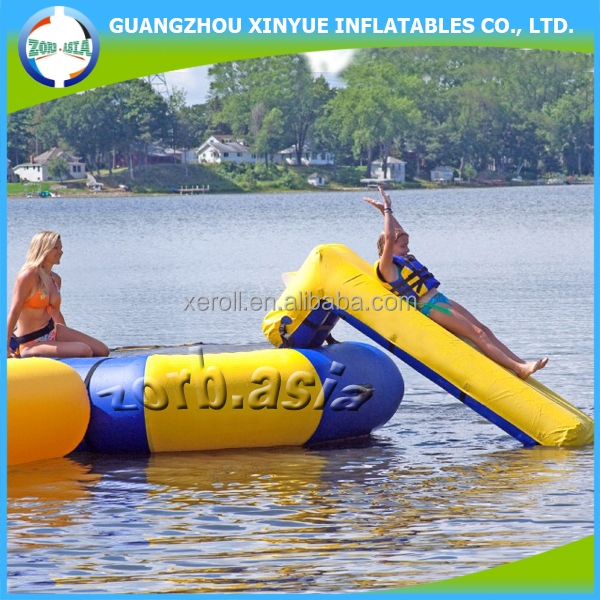 Hot selling summer water sport inflatable water trampoline with slide