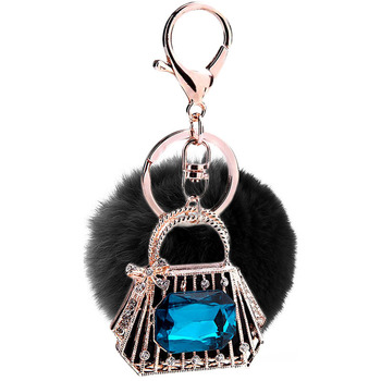 PO000221 WT Yiwu fur ball mobile and car pendant handbag key chain accessory wholesale raccoon fluffy pompoms