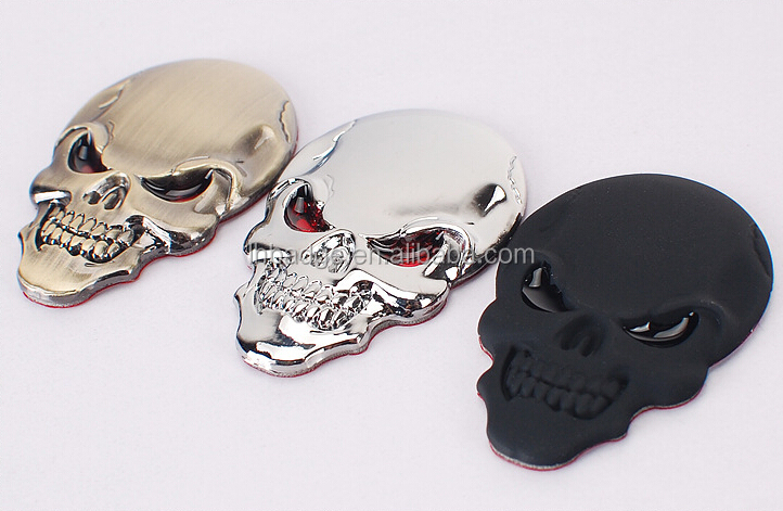 Metal Skull Skeleton car Sticker; Car Emblem Badge Logo