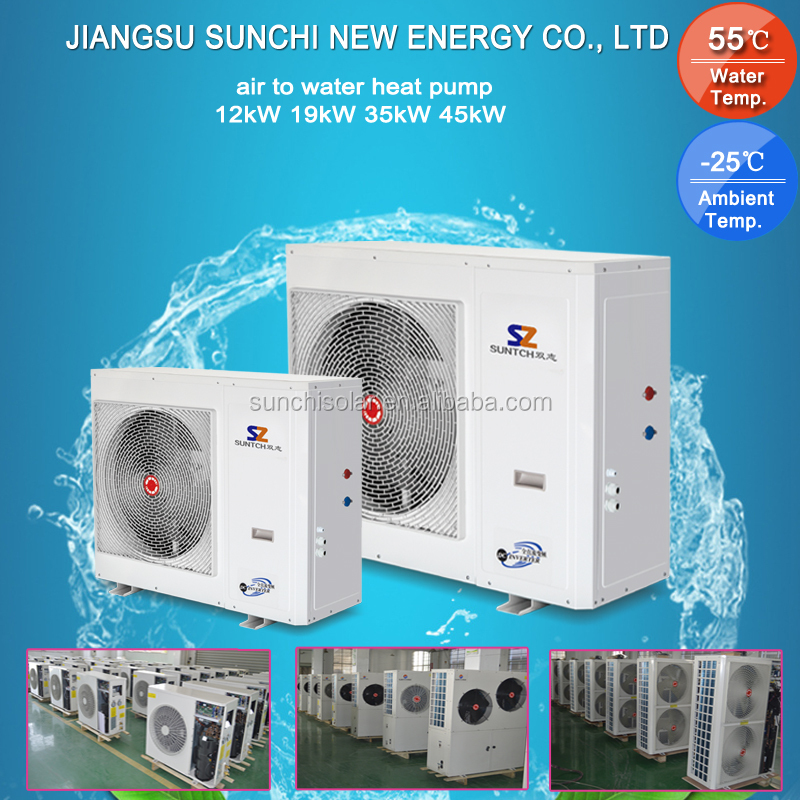 -25C snow winter radiator heating 100~350sq meter room+DHW 12kw/19kw/35kw/70kw auto-defrost EVI heat pump air to wather