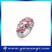 Wow Big Sale For New Store Hot Selling 18KGP Golden Platinum Plated Inlay Cubic Zircon Wedding Rings R0738