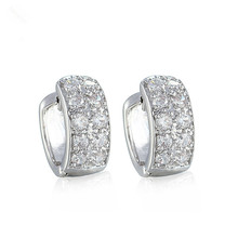 Classic Design Shiny White Gold Plated 20 White Cubic Zircon Paved Hoop Clip Earrings