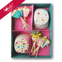 Holiday Birthday Party Paper Cupcake Baking Liners and Top Decorating Sticks